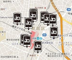 池袋駅周辺のiPhone修理店舗MAP